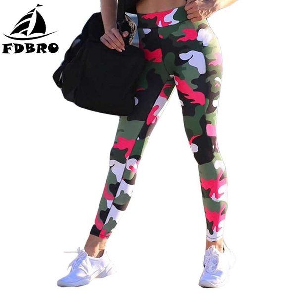 FDBRO Camouflage Printed Yoga Pants Slimming Fitness Jogging Running Gym Workout Tights Leggings Elastic Waist Sports Leggings