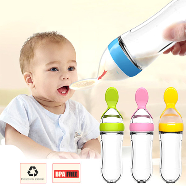 YONG JIU Baby Squeezing Feeding Spoon Silicone bottle Training Scoop Rice Cereal Food Supplement Feeder Safe Tableware Tools