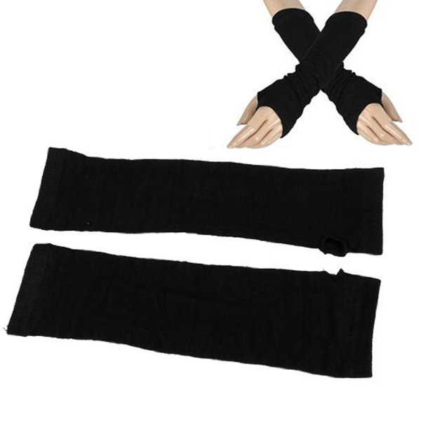 HOT SALE!Ladies Winter Stretchy Cuff Fingerless Black Knitted Long Gloves Arm Warmer Pair