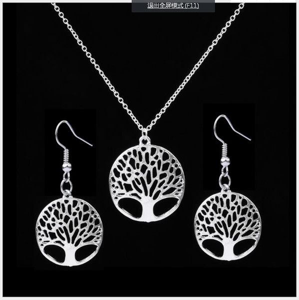 best selling Fashion Women Tree Life Disk Pendant Necklace and Earrings Jewelry Set Sterling Silver Plated free shipping