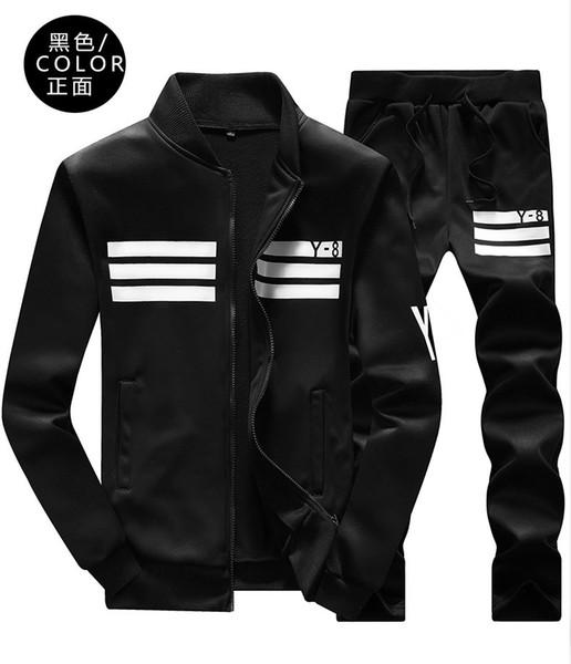 Erkekler Spor Uzun Kollu Spor Hoodies Siyah Beyaz Sonbahar Çiftler Beyzbol Üniforma Srtiped ZipperTraining Suit Casual Eşofman Set Artı