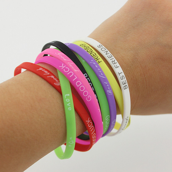 50PCS/Lot 1/2 Inch Wide One Direction Silicone Wristband Bracelet What Makes You Beautiful mix Colors