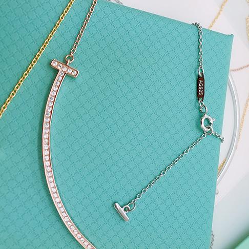 S925 Sterling Silver Diamond Collier femmes grand sourire pendentif colliers femme fête de mariage 18 k plaqué or bijoux
