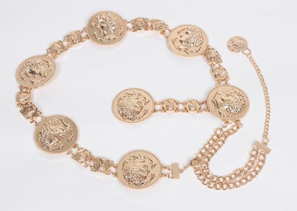 Fashion Gold Women Dress Belts Anti Wear Retro Metal Tassel Waistband Non Elastic Force Waist Chain Top Quality Party Decor Waist Strap