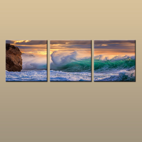 Framed/Unframed Large Canvas Modern Home Decor HD Prints oil painting Art Sea wave Seascape Picture 3 piece Living Room Decor abc25