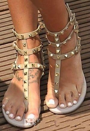 0293269b64c6 Zapatos Mujer Color Rivets Spiked Gladiator Flat Sandals Stones ...