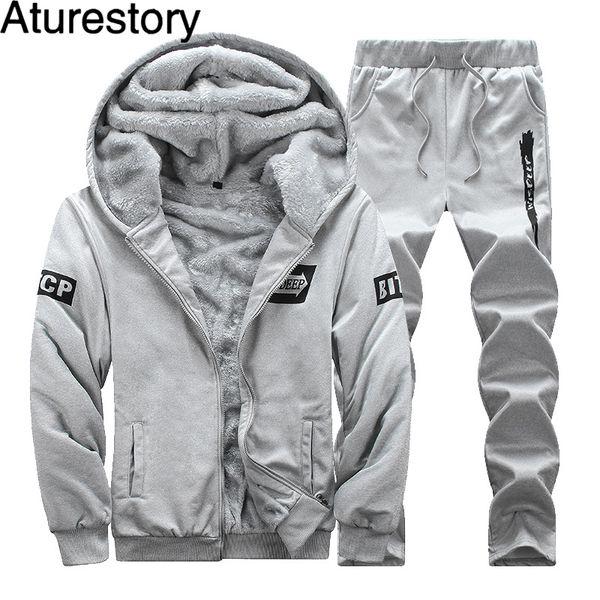 Aturestory Male Autumn Winter Plus Velvet Sporting Tracksuit Men Slim Fit Warm Thickened Sportswear Sweatsuit Two Piece Men Set