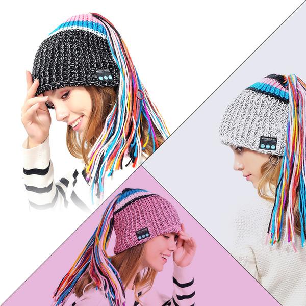 Wireless Bluetooth Smart Beanie Hat Musical Headphone Speaker Women Tassel Knitted Hat Microphone Hands Free Earphone Caps Warm MMA773 50pcs