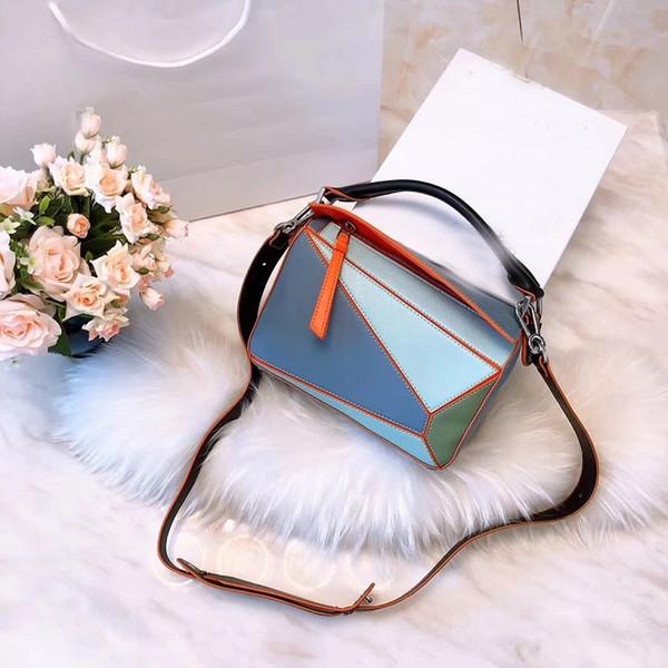 бесплатная доставка с коробкой новое прибытие женщины сумка кожаный кошелек сумка плеча 24 см puzzl сумка женский старинные crossbody сумки