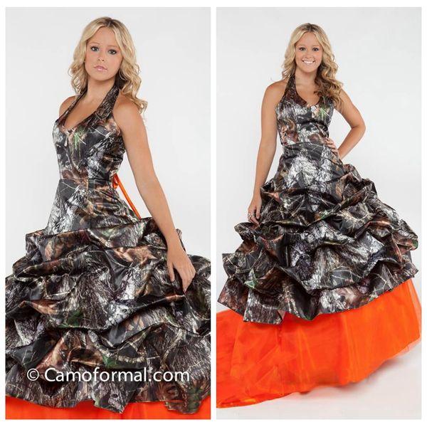 2018 Halter Camo Satén Camuflaje Vestidos de novia Falda de tul naranja Vestidos de novia de árbol real Vestidos con cordones personalizados Vestidos largos drapeados
