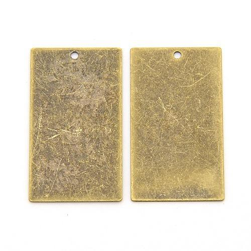 5pcs Antique Bronze Rectangle Metal Tags charms Brass Blank Stamping Tag Pendants for engraving diy 32x18x0.3mm, Hole: 1mm