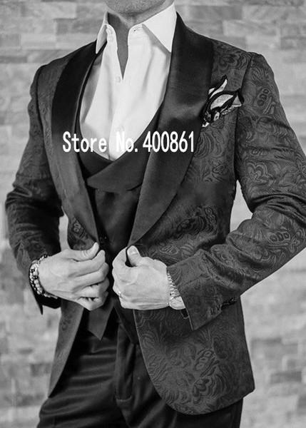Alta qualità One Buon nero sposo smoking Scial risvolto Groomsmen Best Man Mens Wedding Suit (Jacket + Pants + Vest + Tie) W: 222