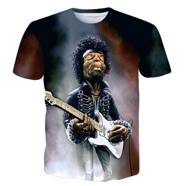 Jimi Hendrix Purple Haze Face 3D Imprimé Femmes / Hommes T-shirt Décontracté Manches Courtes J04