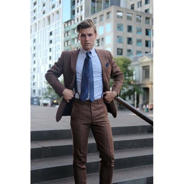 2017 Moda Slim Fit Hombres Traje Muesca Solach Último Escudo Pant Design Brown Trajes Para Hombre Bespoke Wedding Men Tuxedo (Jacket + Pants)