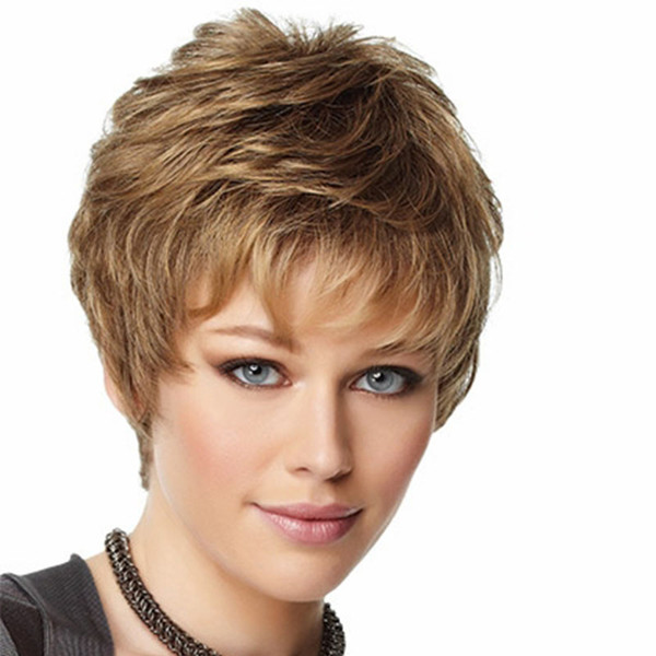8 pulgadas Pelucas cortas de la nueva moda Fluffy Curly Wave marrón claro pelucas para mujeres pelucas sintéticas