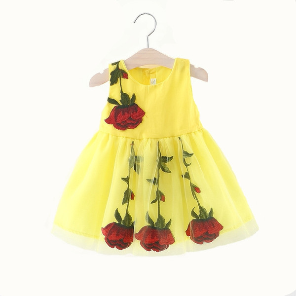 Baby Girls Dress Lace Sleeve Kids Shirts Dress For Girls Rose Embroidery Children Clothing 2018 Fashion Girls Floral Dress free shipping