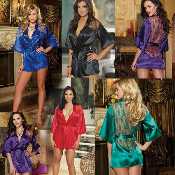 5 colors Women Lace Bathrobe Kimono with G-string Waist Belt Sexy Lingerie Night Robe Pajamas Dressing Gown 10pcs/lot T2I241