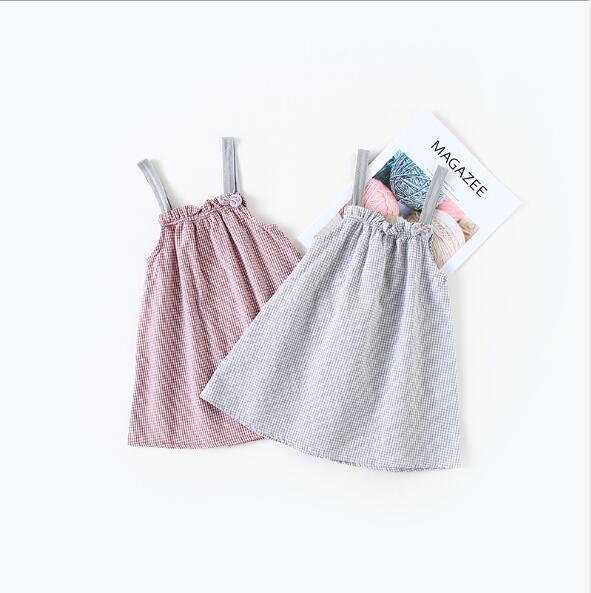 summer dress 2018 hot selling INS summer new Korean style girls sleeveless plaid printed Dress cute sling dress 2 colors free shipping