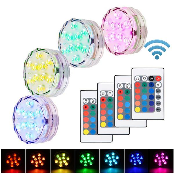 10 LED RGB LED vela sumergible té floral Luz intermitente fiesta de bodas Impermeable Acuario florero Lámpara de decoración de base cachimba shisha