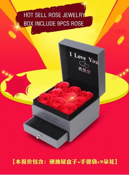Confezione regalo rosa Orecchini fiore immortale Collana Orecchini Bracciale Sapone Fiore Scatola di gioielli Scatola di gioielli Nessuna collana, delicatezza avanzata
