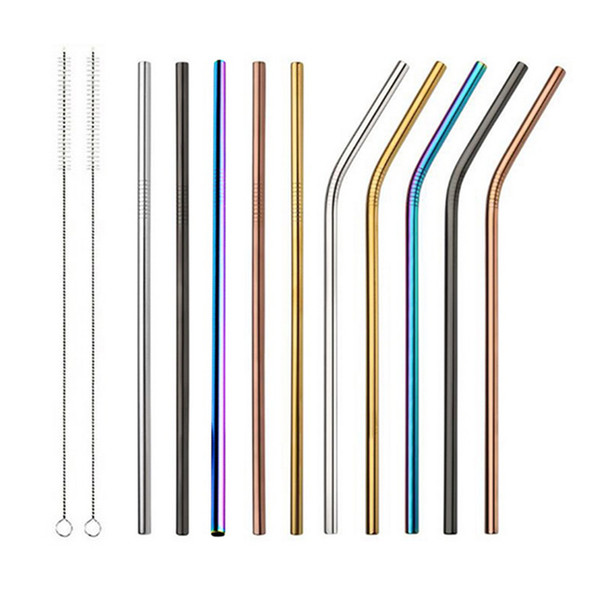 best selling Colorful 304 Stainless Steel Drinking Straw 8.5 10.5 inch Straight Bent Reusable Straws for Fruit Juice Coffee Tea Party Bar Accessorie