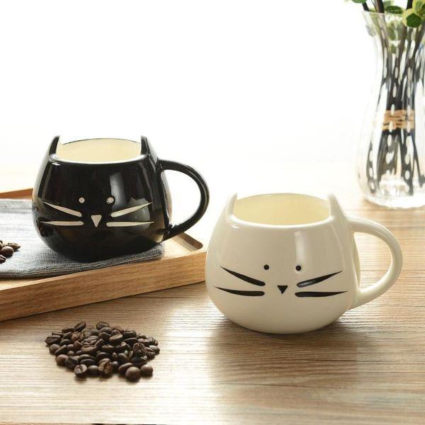Tazas de gato de dibujos animados con mano Tazas de moda creativas retro blancos y negros para los amantes Regalo de niños de alto grado 6 8fy J R