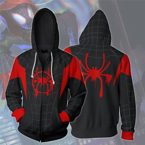 Marvel movie Spider-Verse Spider-man Costumi Cosplay Zipper Felpe Felpe Stampa 3D Unisex Adulto uomo donna Abbigliamento
