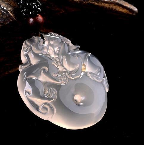 natural sweet ICY PIXIUPINANKOU white agate chalcedony pendant China JINZHIYUYE pendants