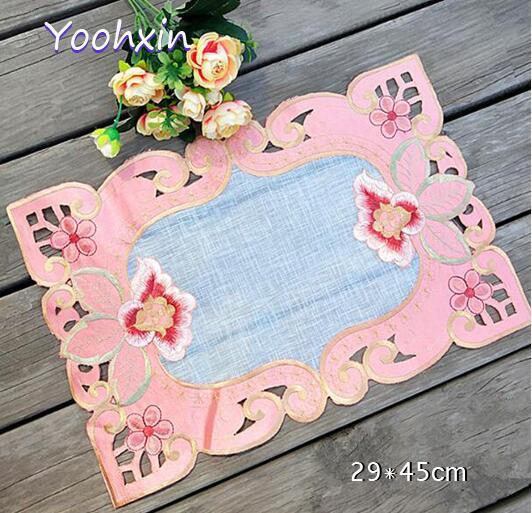 Modern lace pink place table mat cloth pad embroidery cup mug coffee dinner drink doily bar dining coaster placemat kitchen