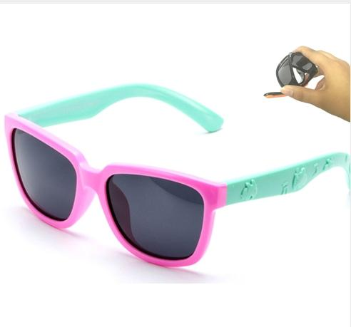Kids Sunglasses Girls Square Frame Child Glasses Polarized Lense Boys Children Eyewear Silicone Glass Safe Anti UV 838