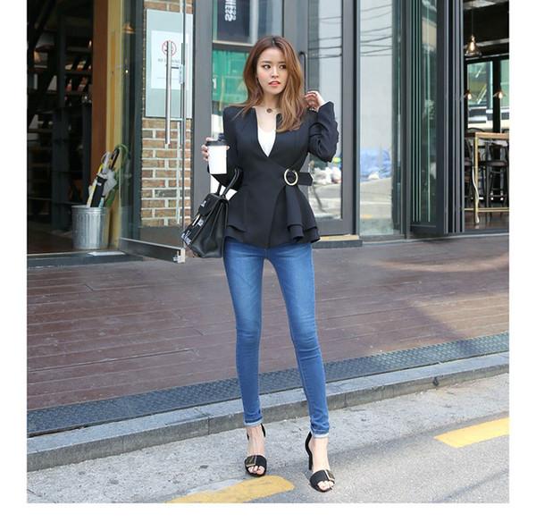 C8270 New Women Blazer Short Jackets Solid Casual O-neck Coat Blazer Feminino Women Blazers Tops Suit 45CM
