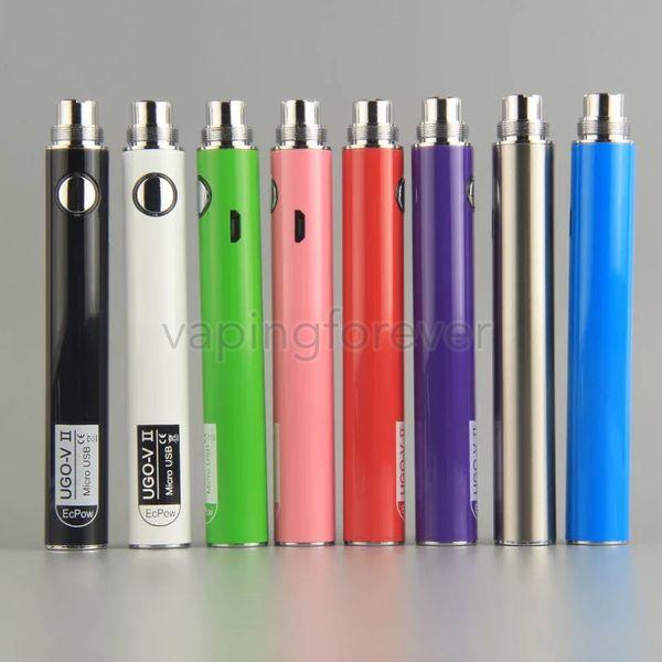 Original UGO-V UGO-T UGO-VII 650/900/1100mAh Battery Ego EVOD Micro USB Passthrough Bottom Charge 510 Vape Battery With USB Charger