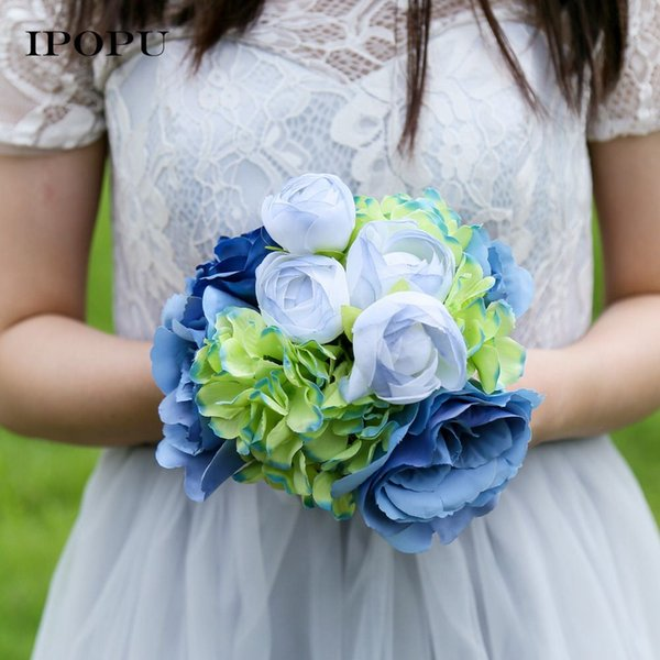 10 Pcs/set 2 Colors Artificial Rose Flowers Hands Holding Silk Flower Bridal Bridesmaid Bouquet Silk Cloth Floral Party Supply