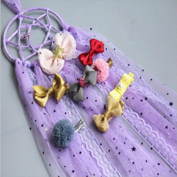 Handmade Baby Room Decor Girls Lace Ribbon Hair Clip Hair Bow Holder Storage Organizer Long Bow Hanger Hair Clips Storage Organizer C3948