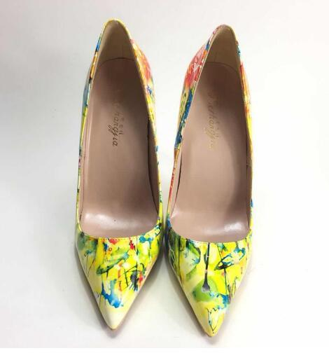 2018 spring new Ladies high-heeled pumps OL Career pointed-toe high-heeled shoes PU leather Painted high heels women pumps