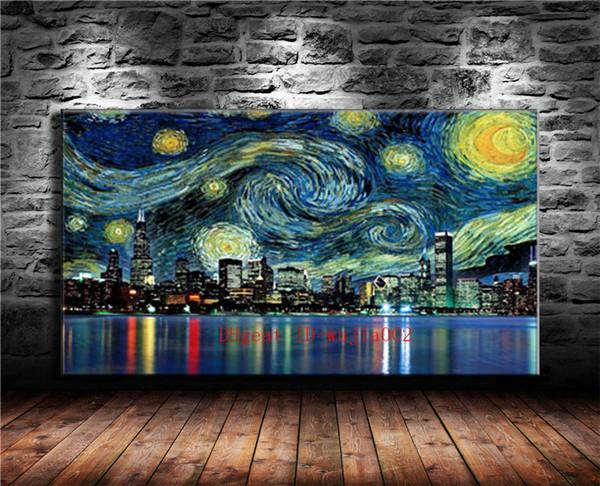 Yıldızlı Gece Şehir, Tuval Boyama Oturma Odası Ev Dekor Modern Duvar Sanatı Yağlıboya