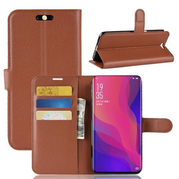 Litchi Flip Wallet Funda de cuero para OPPO Buscar X R17 Xiaomi Redmi NOTA 6 Alcatel 7 Leechee Stand Tarjeta de identificación Dinero Funda de piel Lujo 100pcs