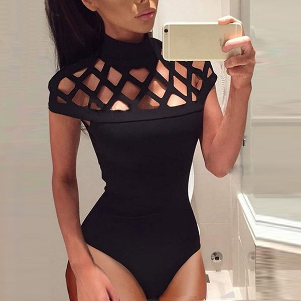 Elegant Jumpsuit women playsuit high quality hollow out sexy Jumpsuits Choker High Neck Caged Sleeves Bodysuit Rompers #5