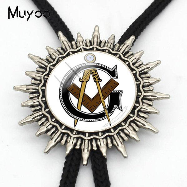 BOLO-0053 New Arrival Masonic Compass Neck Ties Sign Bolo Tie Personalized Photo Glass Men Jewelry