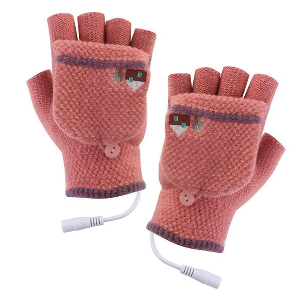 USB-beheizte Handschuhe Mitten Winter Hände Warme Laptop Handschuhe Volle Hälfte Beheizt Fingerlose Heizung Stricken Hände Warmer Waschbar