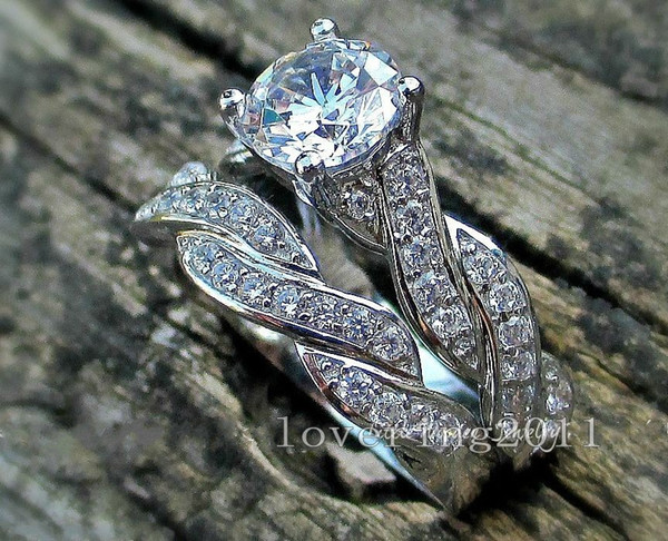 choucong Round cut 7mm Stone 5A Zircon stone 10KT White Gold Filled 2 Wedding Band Ring Sets Sz 5-11 Gift Free shipping