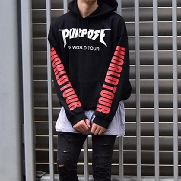 Fashion Purpose Tour Hoodies Men Justin Bieber Kanye Streetwear Hip Hop Brand Sweatshirts Hi Street Men Swag Tyga Hoodie S-3XL