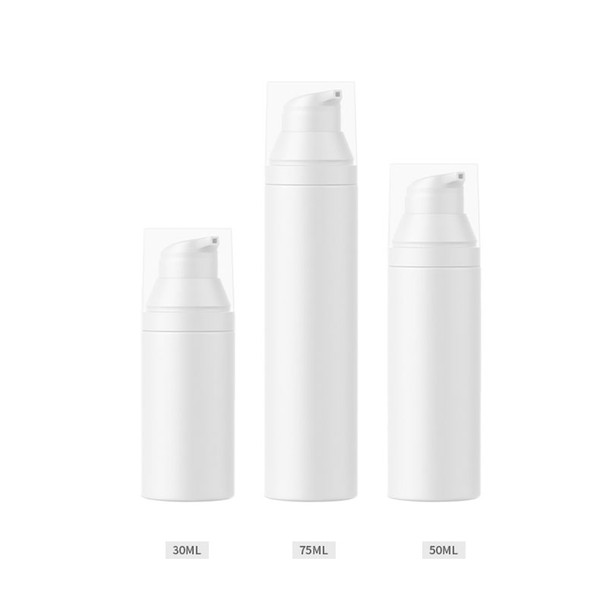 300pcs/lot 30ml 50ml 75ml Empty White airless lotion pump bottle PP airless pump Cosmetic airless Handcream refillable bottle