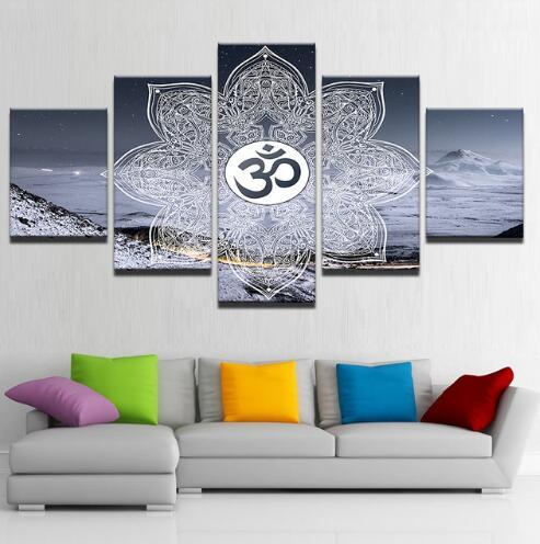 Oil Painting Modular Wall Art Posters HD On Canvas 5 Panels Om Symbol Posters Buddha Yoga Modern Home Decorative Pictures