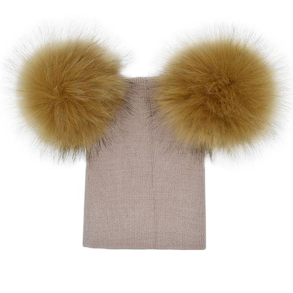 Children Oversize Knitted Hat Double Balls Baby Woolen Cap Winter Keep Warm Thick Beanies Christmas Gift 12xi Ww