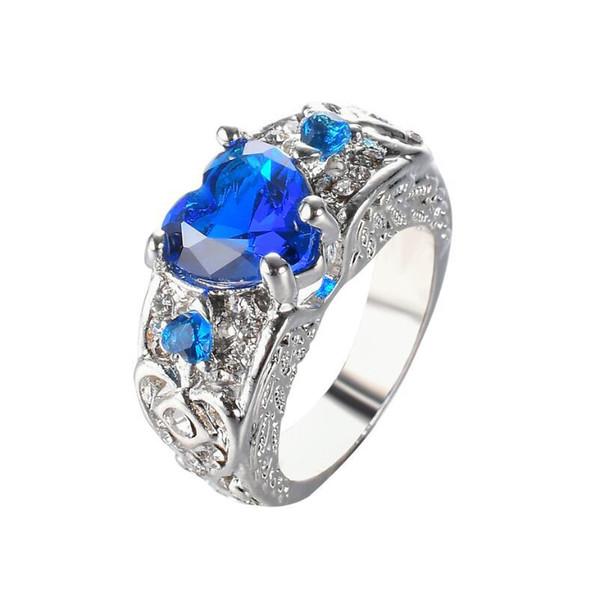 Sapphire Rings Blue Diamond Ring Engagement Rings Heart - Shaped Garnet Wings Arrow Women's Wedding Ring NEW STYLE
