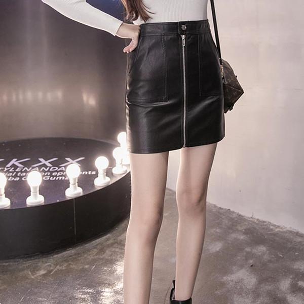f1ac8e114 Compre 2018 Estilo Coreano Moda PU Falda De Cuero Elegante Negro Sólido  Cremallera Frontal Sexy Falda Mujeres Lápiz Mini Falda Tallas Grandes A ...
