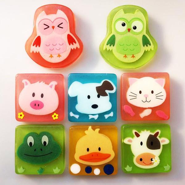 Cute Creative Cartoon Animal Bath Body Works Jabón para manos portátil de silicona 100 g Cuidado de la piel Aceite esencial Jabón hecho a mano para niños