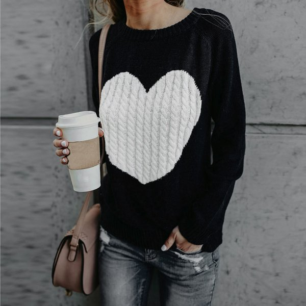 Women Casual Solid Long Sleeve Love Pullover Loose Sweater Jumper Tops Knitwear befree clothes Kawaii warm winter shein F80