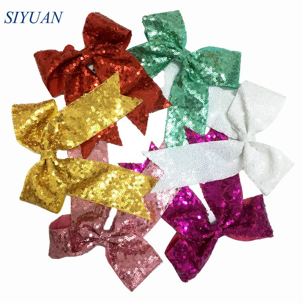 20pcs/lot 6 inch Luxury Shiny Sequin Bow Clip Hair Rubber Band DIY Hair Accessories For Kids HDJ133